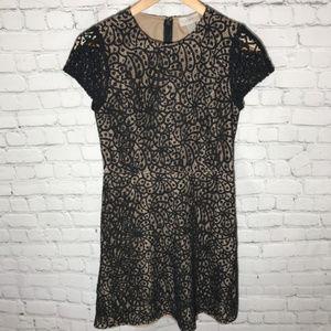 Loft Black Lace Overlay A Line Dress